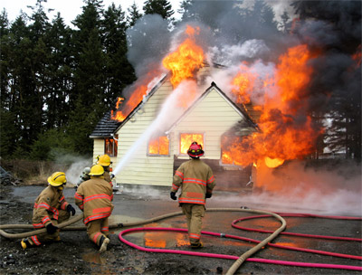 image of house on fire