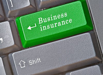 image of keyboard button labeled for business insurance