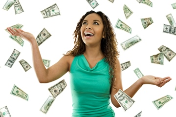 image of woman being showered in money